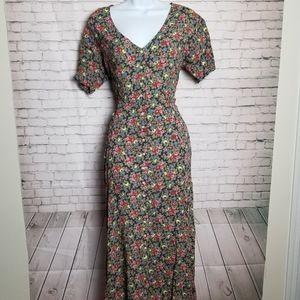 VINTAGE Ecote 90's boho button down maxi dress